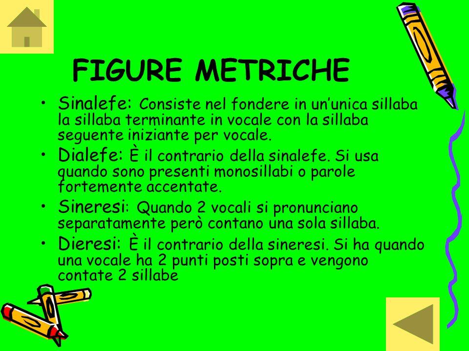 FIGURE METRICHESinalefe: Consiste nel fondere in un'unica sillaba la sillaba terminante in vocale con la sillaba seguente iniziante per vocale.
