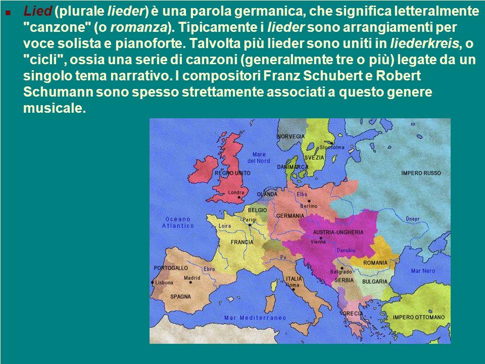Lied (plurale lieder) è una parola germanica, che significa letteralmente canzone (o romanza).