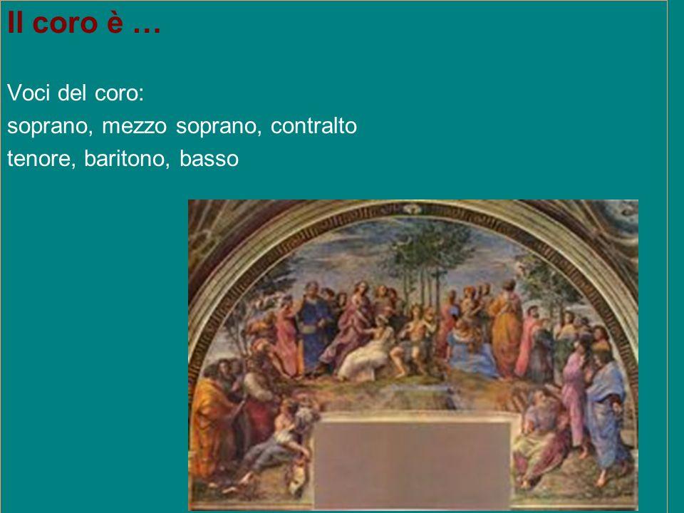 Il coro è … Voci del coro: soprano, mezzo soprano, contralto