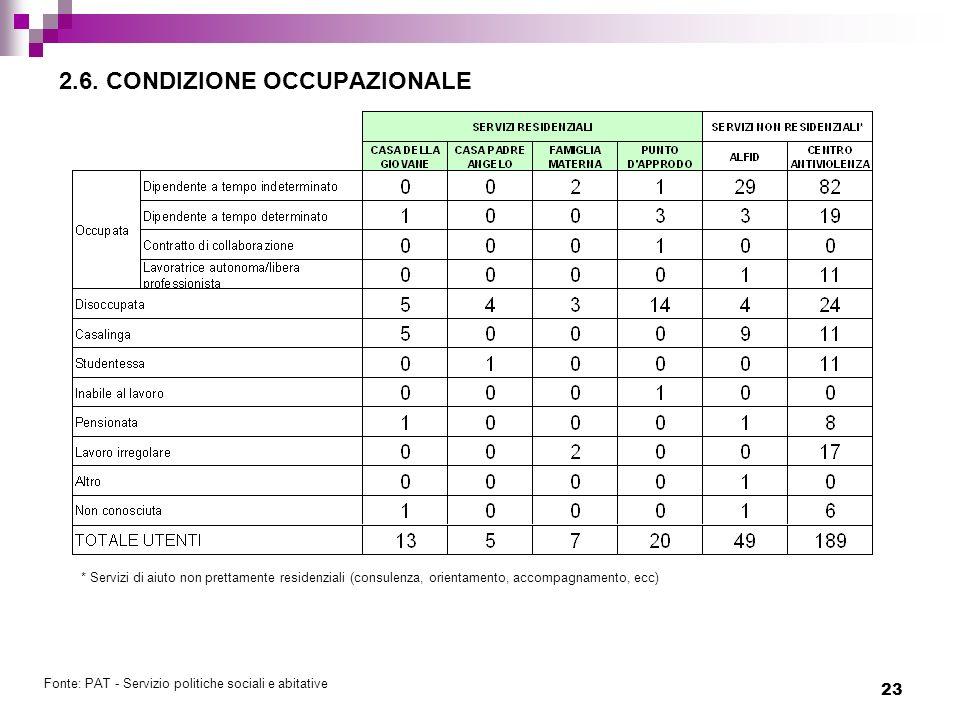 2.6. CONDIZIONE OCCUPAZIONALE