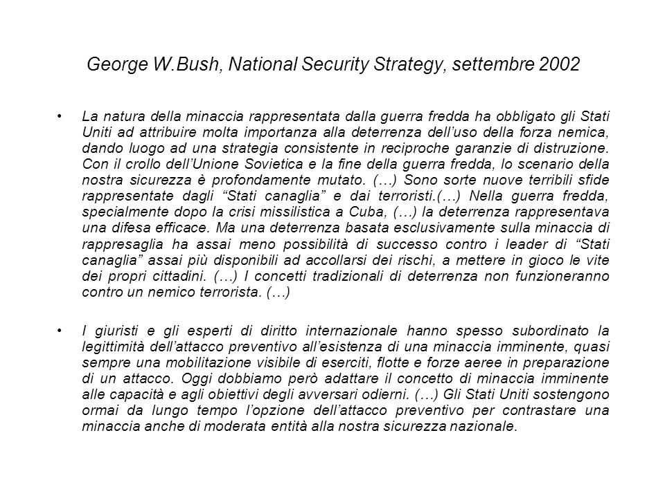 George W.Bush, National Security Strategy, settembre 2002