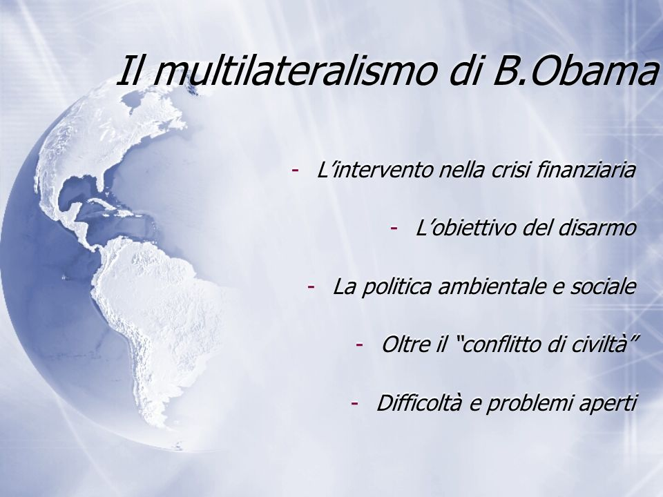 Il multilateralismo di B.Obama