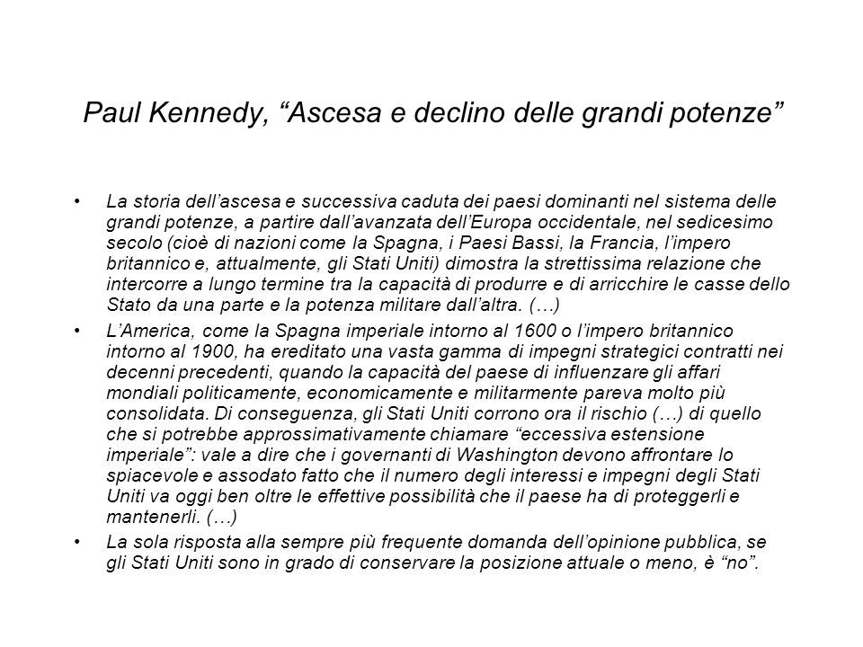 Paul Kennedy, Ascesa e declino delle grandi potenze