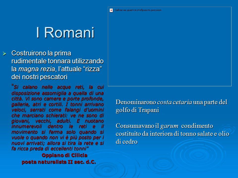 I Romani Costruirono la prima rudimentale tonnara utilizzando la magna rezia, l'attuale rizza dei nostri pescatori.