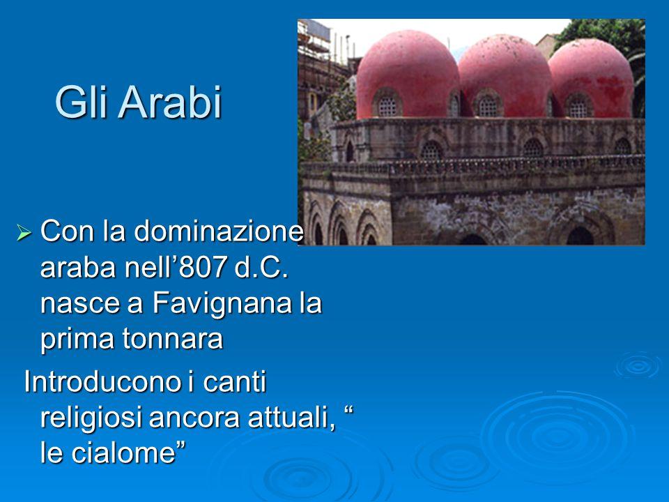 Gli Arabi Con la dominazione araba nell'807 d.C. nasce a Favignana la prima tonnara.