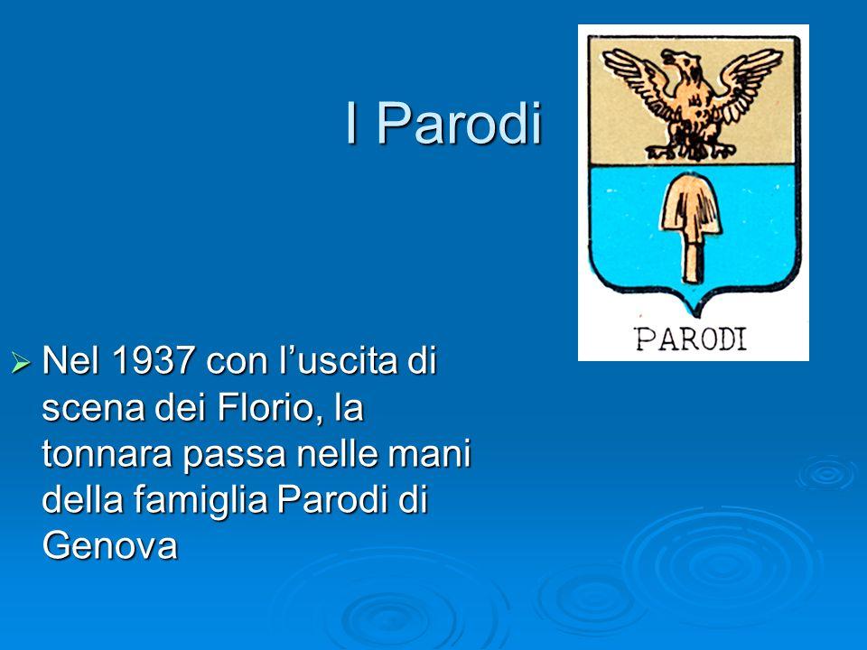 I Parodi Nel 1937 con l'uscita di scena dei Florio, la tonnara passa nelle mani della famiglia Parodi di Genova.