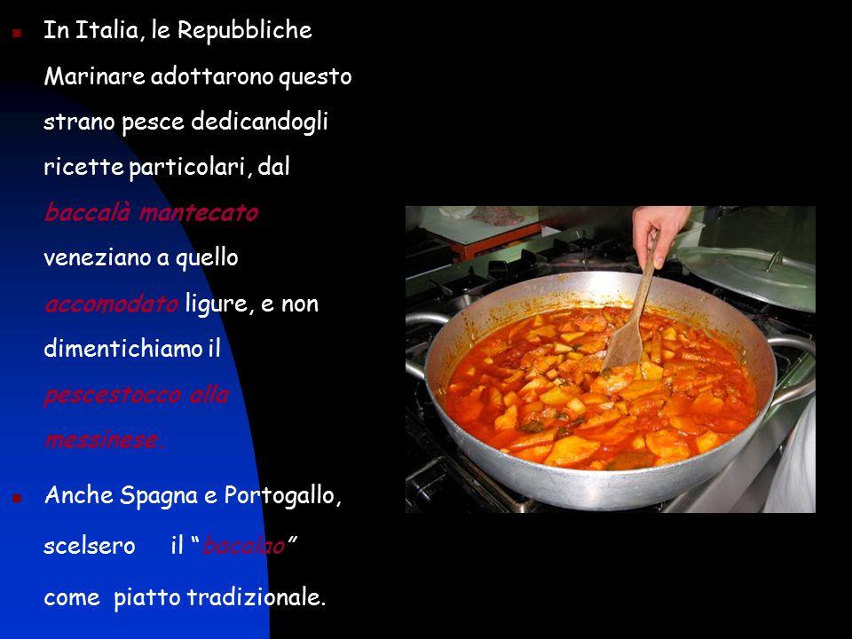 In Italia, le Repubbliche Marinare adottarono questo strano pesce dedicandogli ricette particolari, dal baccalà mantecato veneziano a quello accomodato ligure, e non dimentichiamo il pescestocco alla messinese.