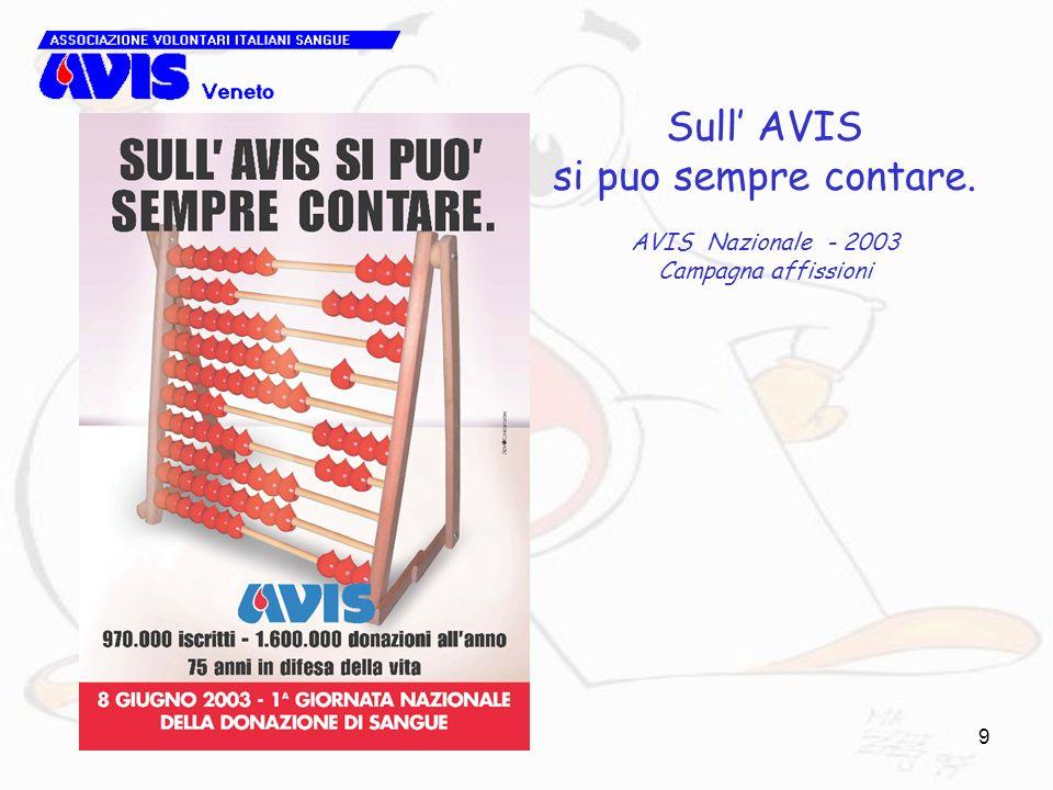 Sull' AVIS si puo sempre contare. AVIS Nazionale - 2003