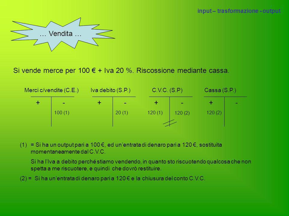 Si vende merce per 100 € + Iva 20 %. Riscossione mediante cassa.