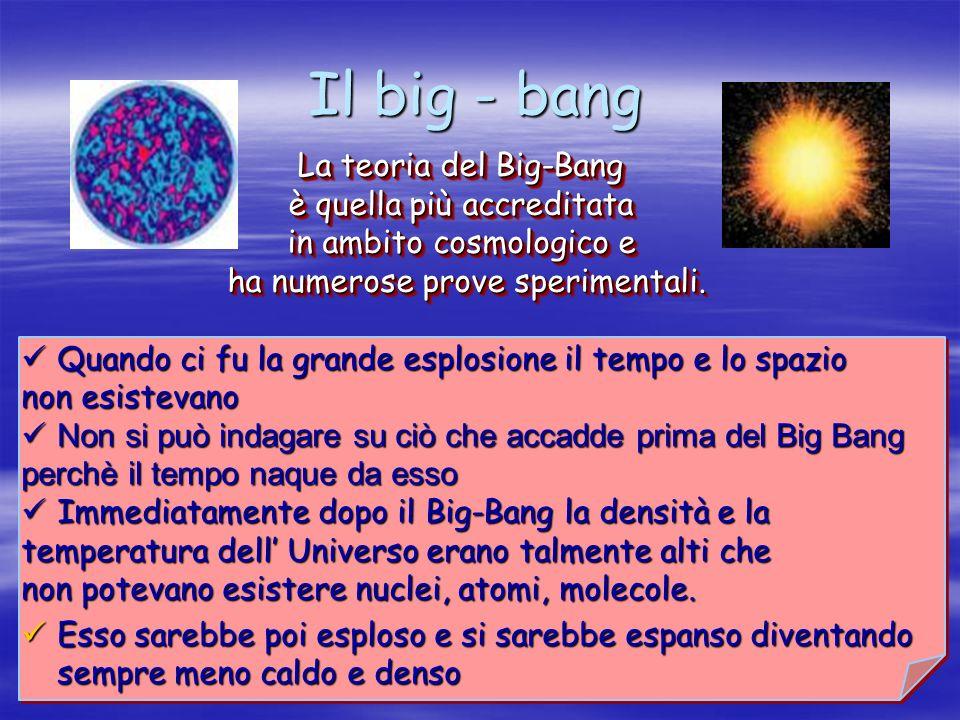 Il big - bang La teoria del Big-Bang è quella più accreditata