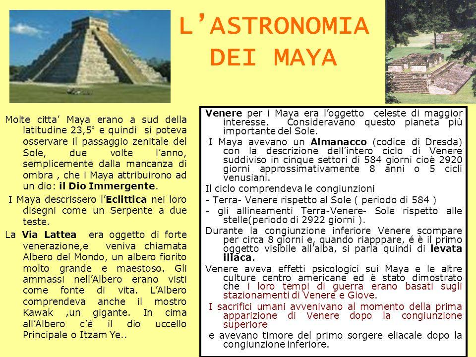 L'ASTRONOMIA DEI MAYA Venere per i Maya era l'oggetto celeste di maggior interesse. Consideravano questo pianeta più importante del Sole.
