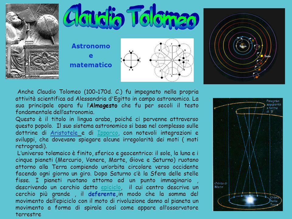 Claudio Tolomeo Astronomo e matematico