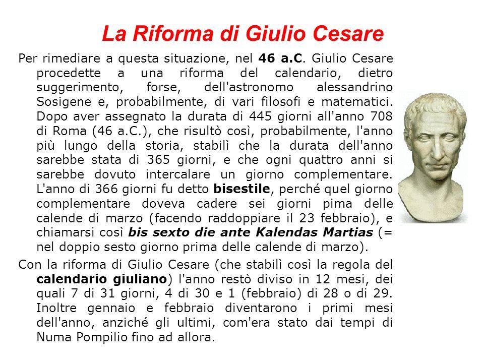 La Riforma di Giulio Cesare