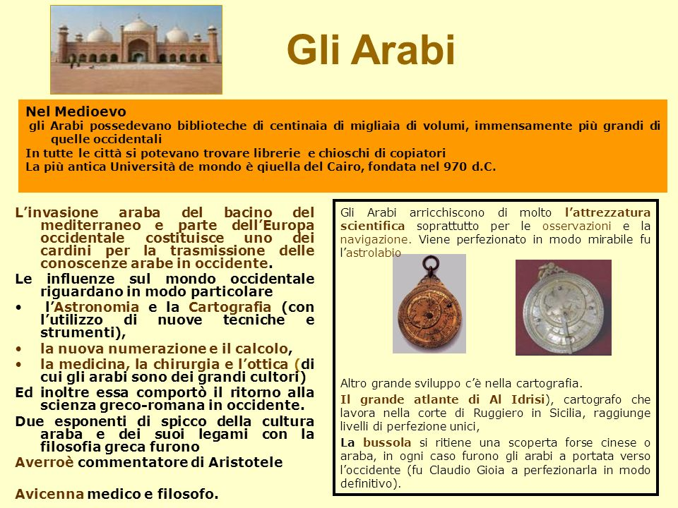 Gli Arabi Nel Medioevo. gli Arabi possedevano biblioteche di centinaia di migliaia di volumi, immensamente più grandi di quelle occidentali.