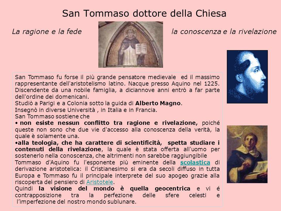 San Tommaso dottore della Chiesa La ragione e la fede la conoscenza e la rivelazione