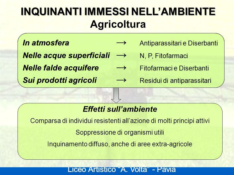 INQUINANTI IMMESSI NELL'AMBIENTE Agricoltura Effetti sull'ambiente