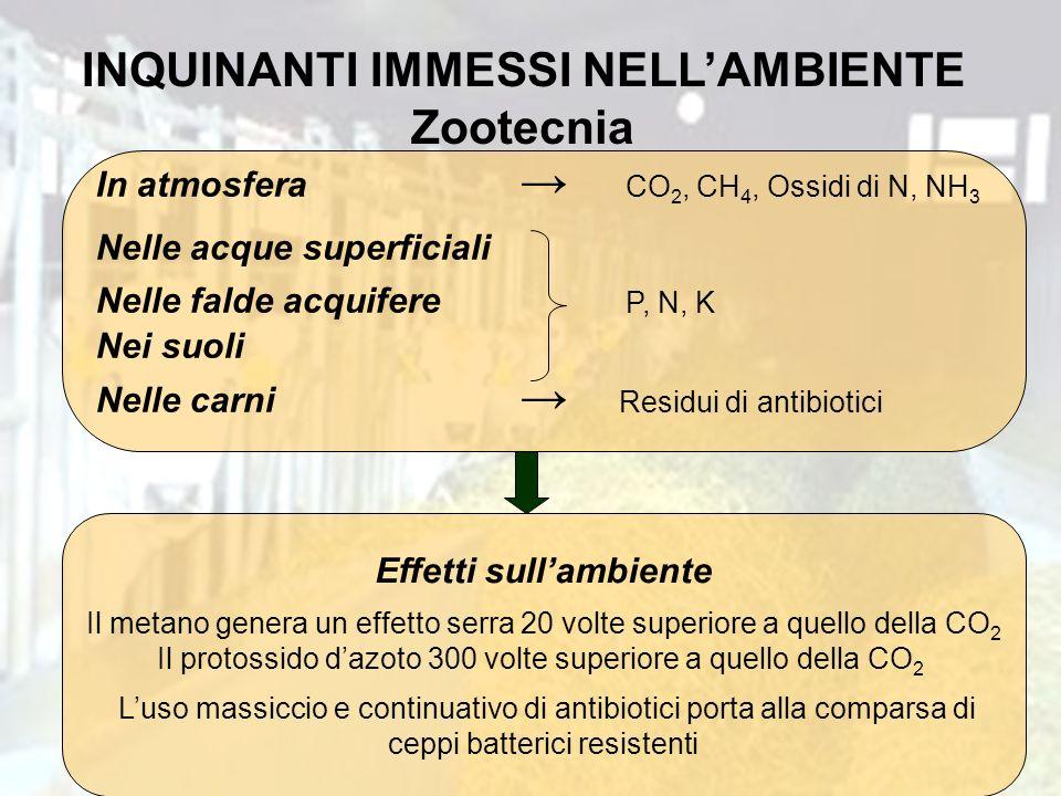 INQUINANTI IMMESSI NELL'AMBIENTE Zootecnia Effetti sull'ambiente