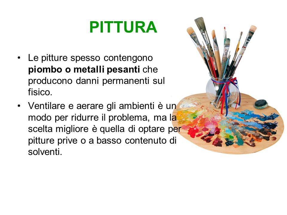 PITTURA Le pitture spesso contengono piombo o metalli pesanti che producono danni permanenti sul fisico.
