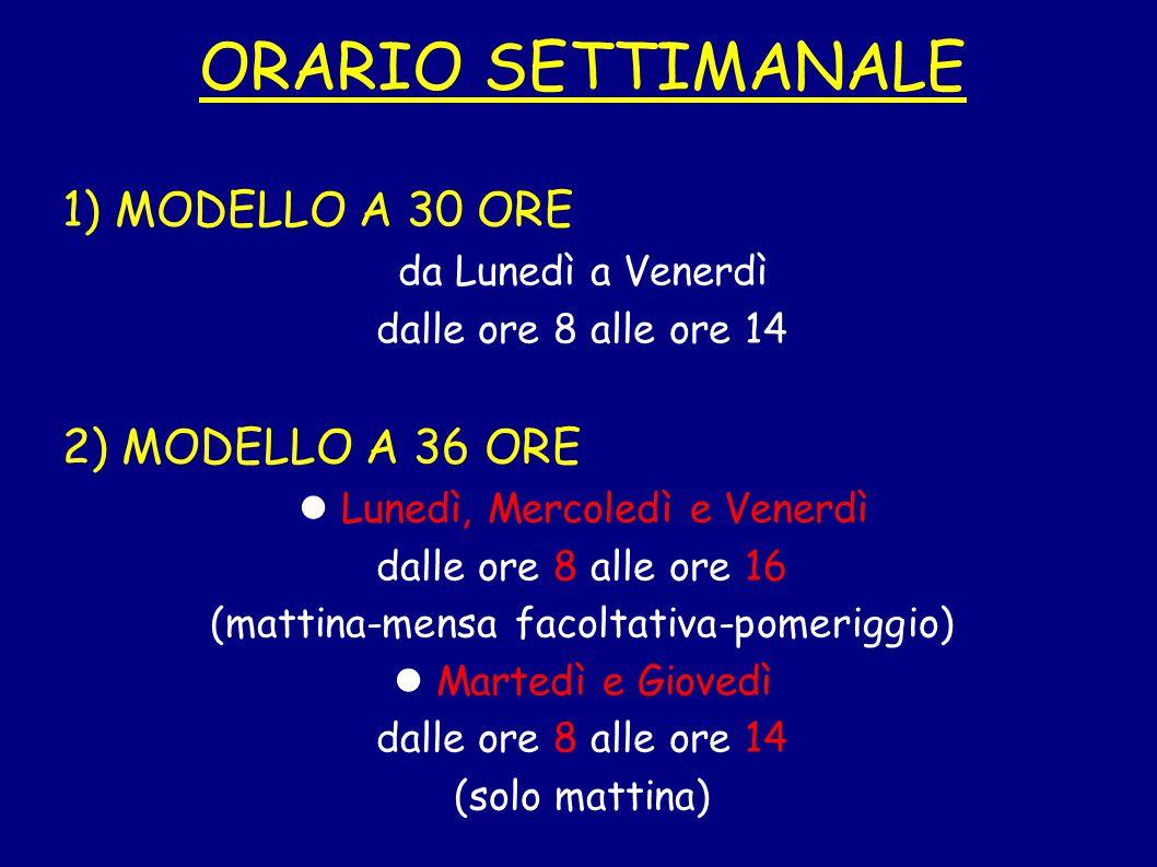 ORARIO SETTIMANALE 1) MODELLO A 30 ORE 2) MODELLO A 36 ORE