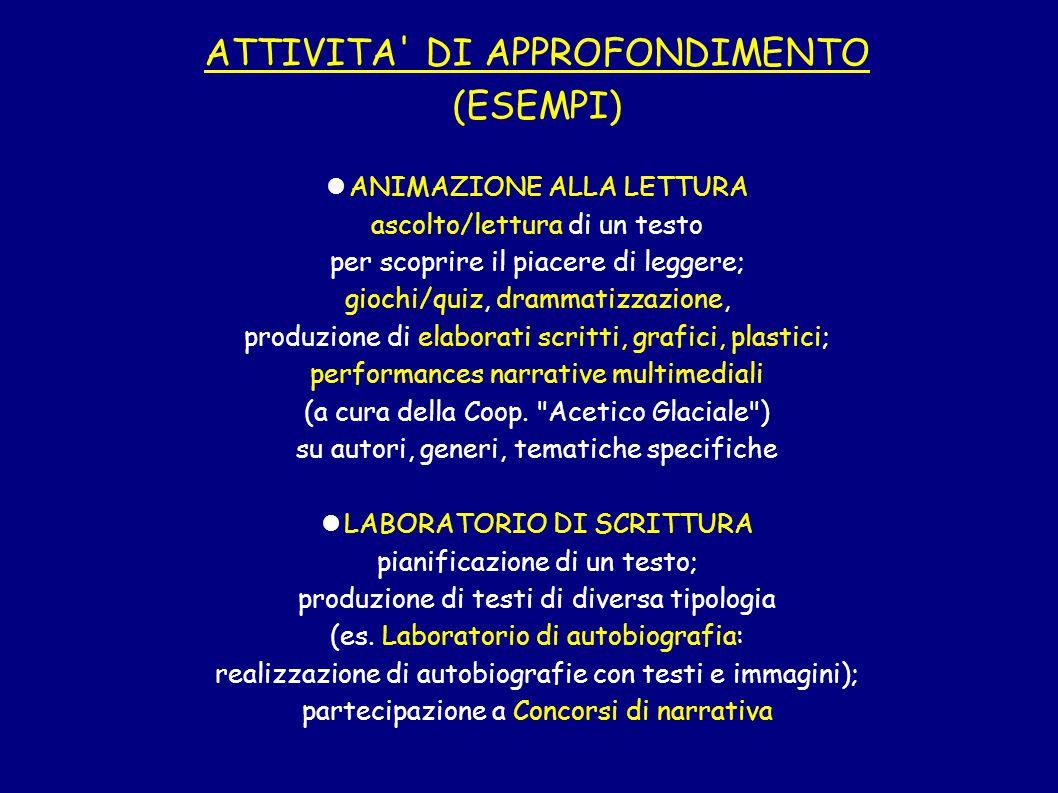 ATTIVITA DI APPROFONDIMENTO (ESEMPI)