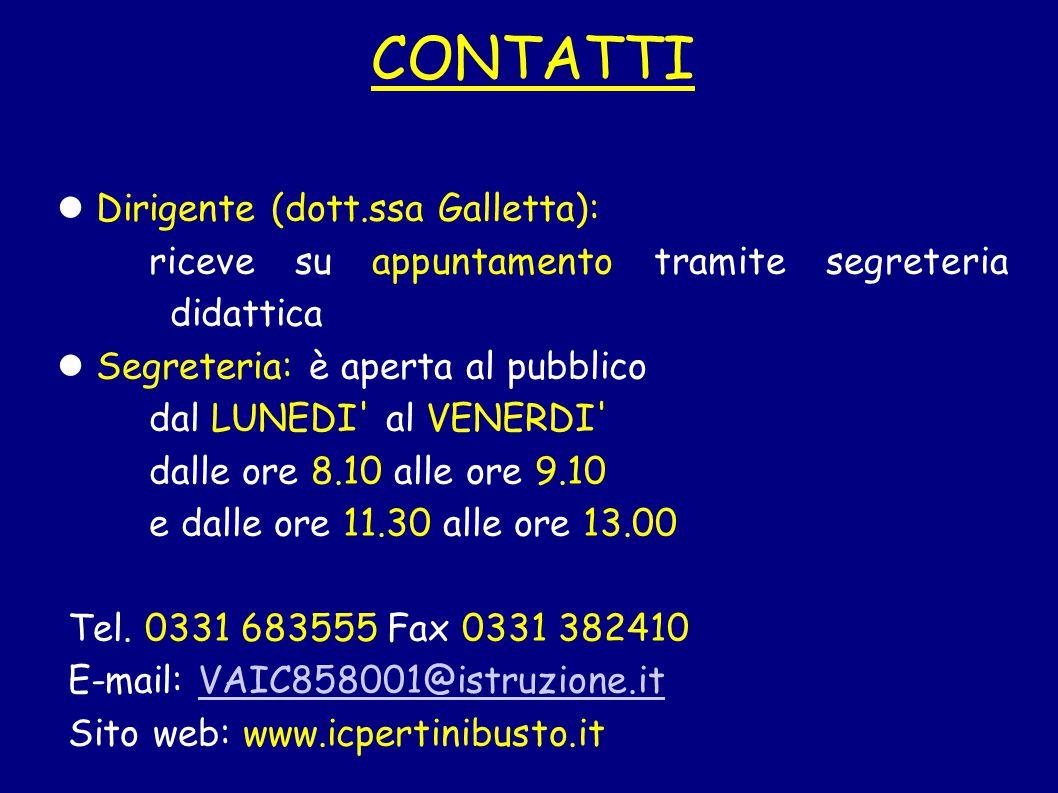 CONTATTI Dirigente (dott.ssa Galletta):