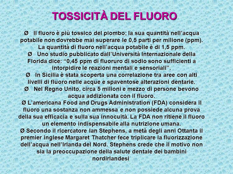 TOSSICITÀ DEL FLUORO