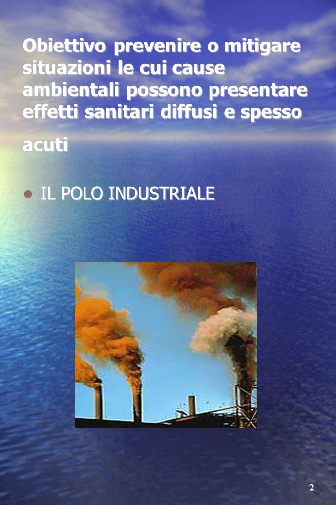 Obiettivo prevenire o mitigare situazioni le cui cause ambientali possono presentare effetti sanitari diffusi e spesso acuti