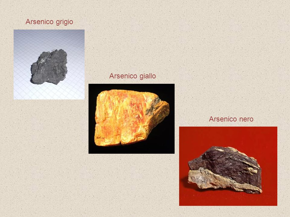 Arsenico grigio Arsenico giallo Arsenico nero