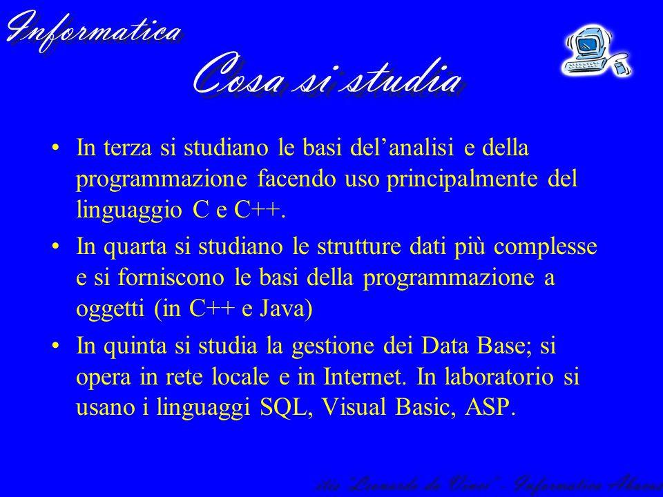 In terza si studiano le basi del'analisi e della programmazione facendo uso principalmente del linguaggio C e C++.