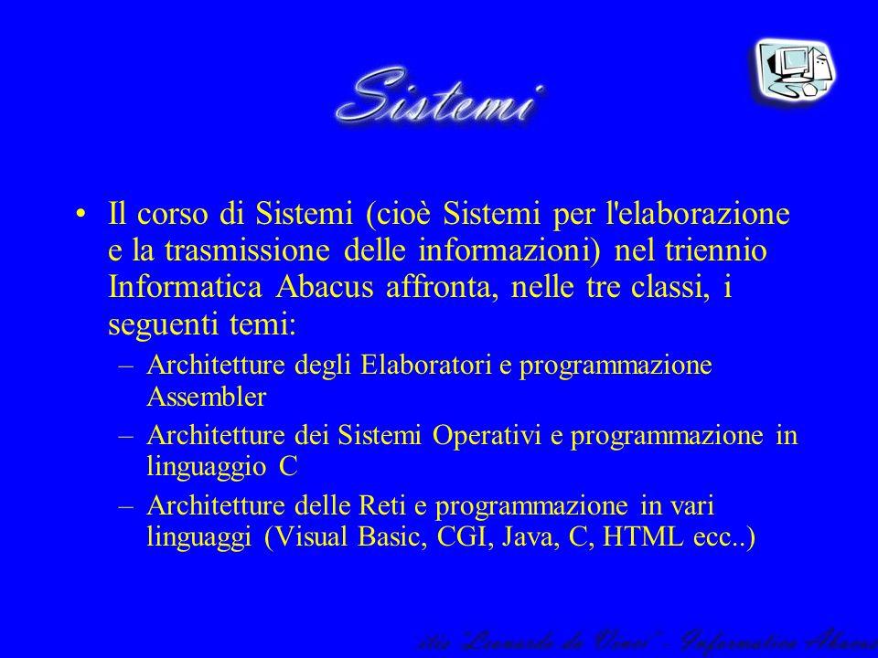 Il corso di Sistemi (cioè Sistemi per l elaborazione e la trasmissione delle informazioni) nel triennio Informatica Abacus affronta, nelle tre classi, i seguenti temi:
