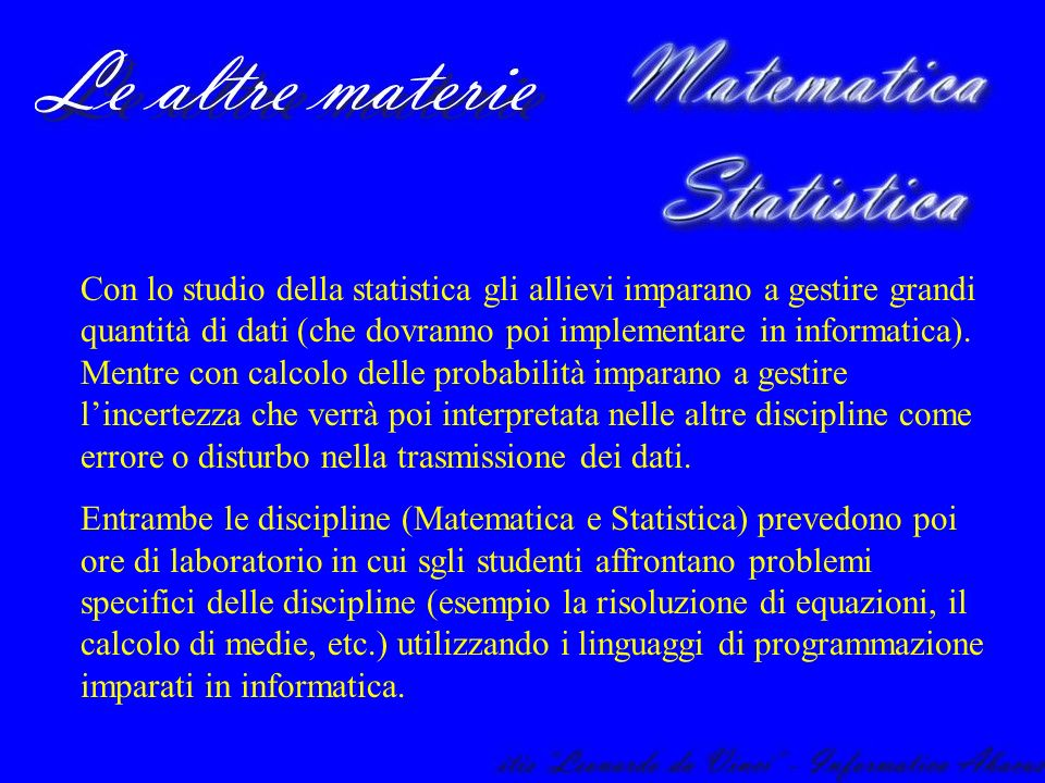 Matematica e Statistica