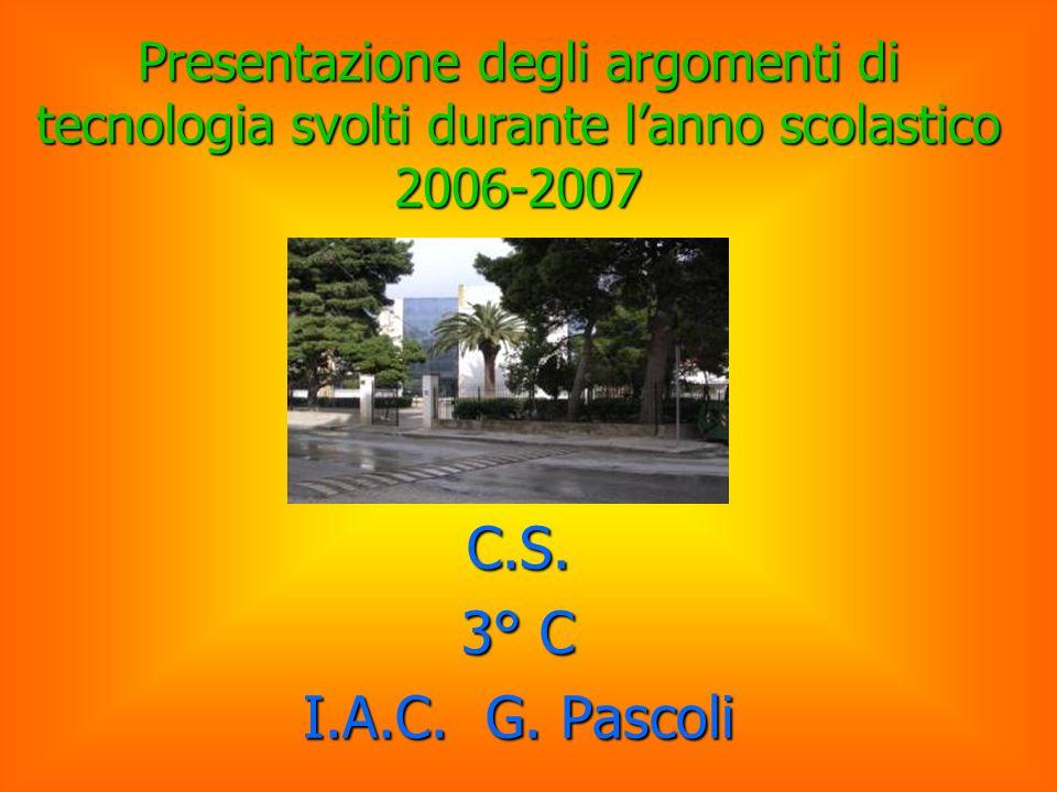Presentazione degli argomenti di tecnologia svolti durante l'anno scolastico 2006-2007