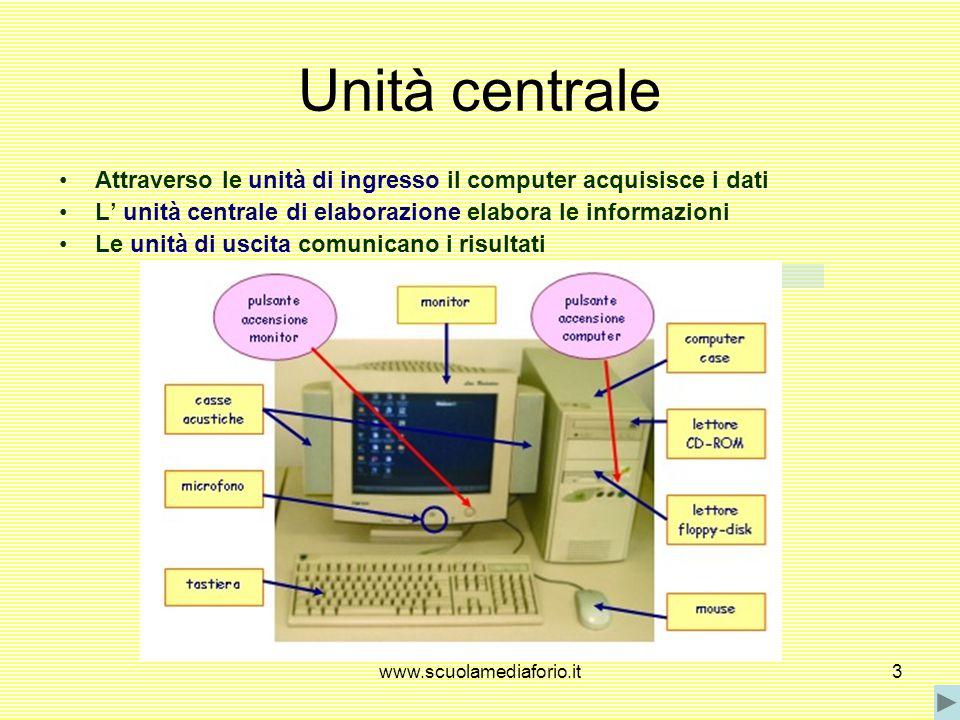 Unità centrale Attraverso le unità di ingresso il computer acquisisce i dati. L' unità centrale di elaborazione elabora le informazioni.