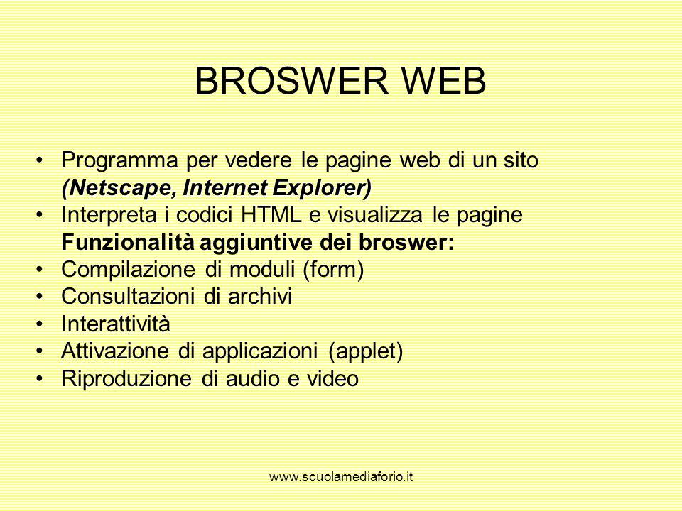 BROSWER WEB Programma per vedere le pagine web di un sito