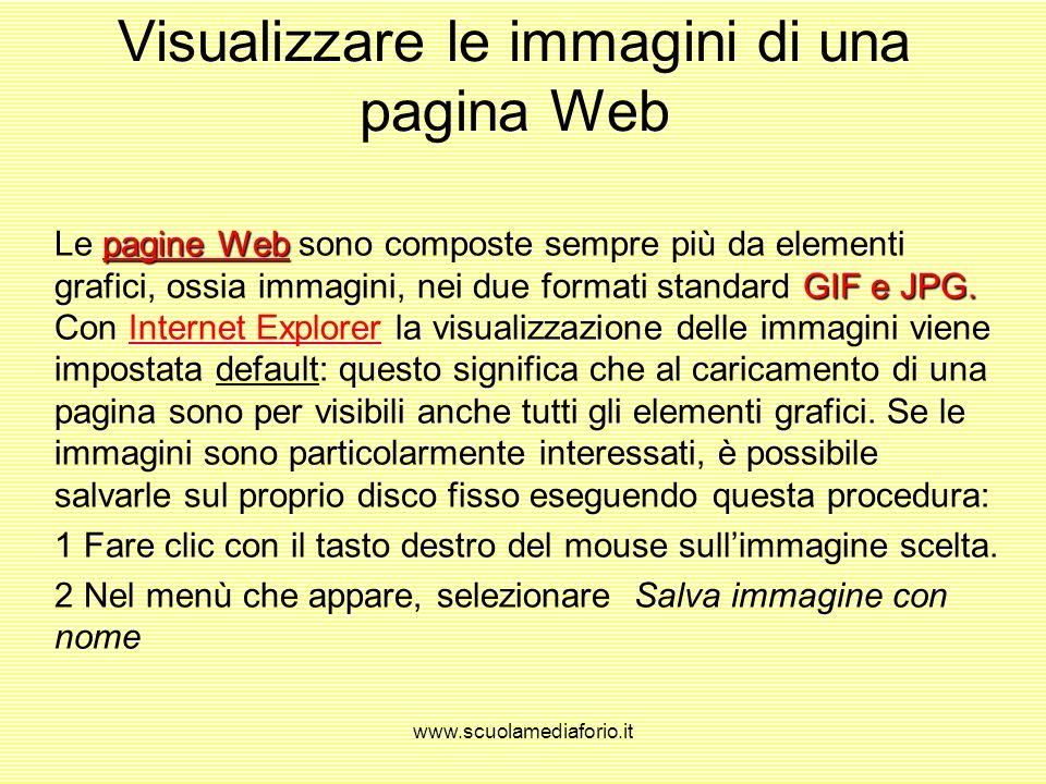 Visualizzare le immagini di una pagina Web