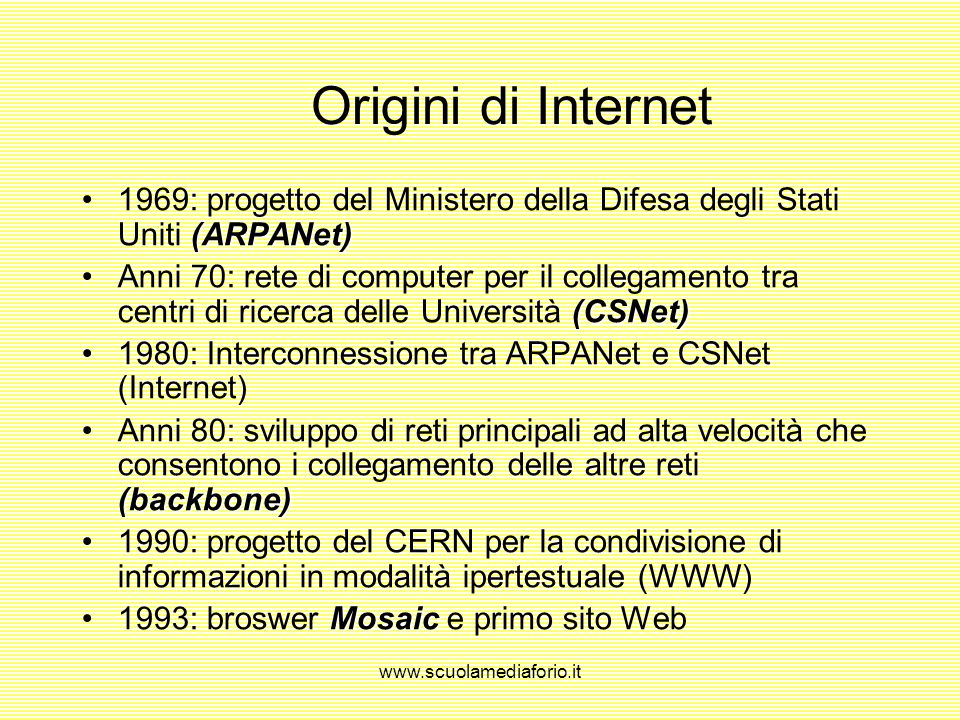 Origini di Internet 1969: progetto del Ministero della Difesa degli Stati Uniti (ARPANet)