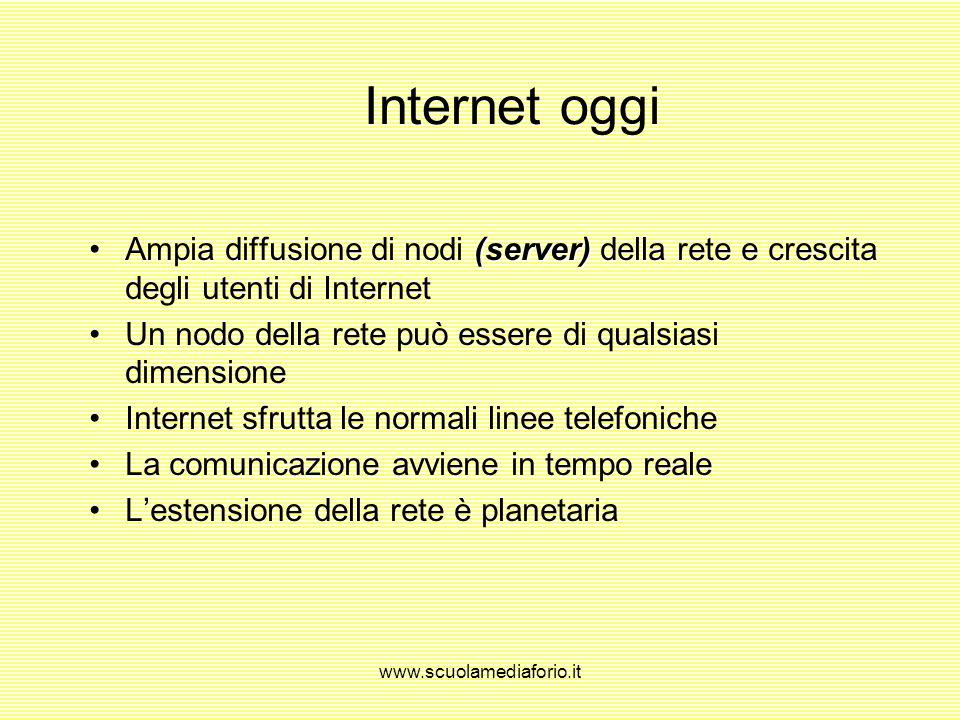 Internet oggi Ampia diffusione di nodi (server) della rete e crescita degli utenti di Internet.