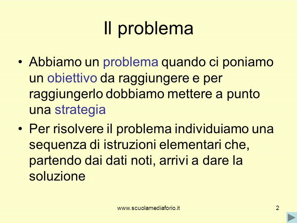 Il problemaAbbiamo un problema quando ci poniamo un obiettivo da raggiungere e per raggiungerlo dobbiamo mettere a punto una strategia.