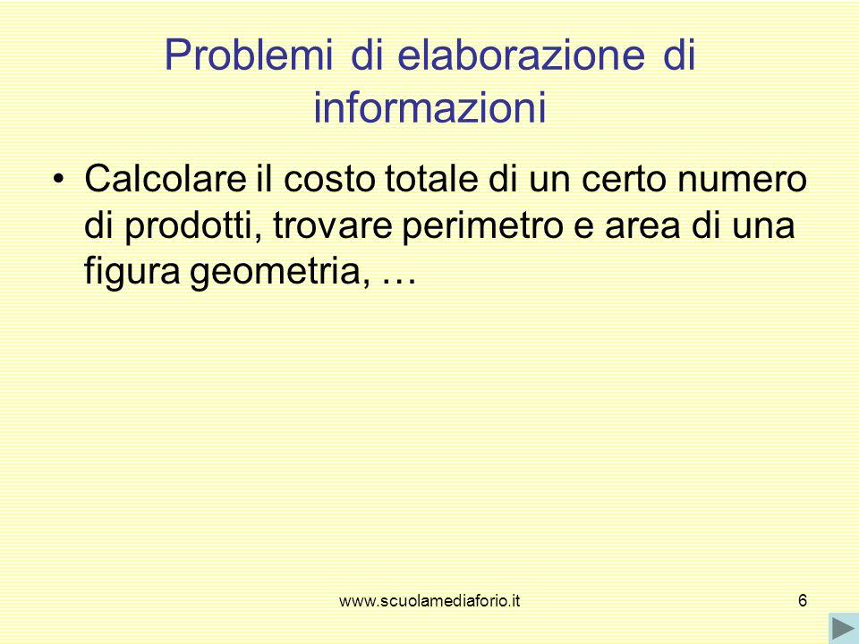 Problemi di elaborazione di informazioni