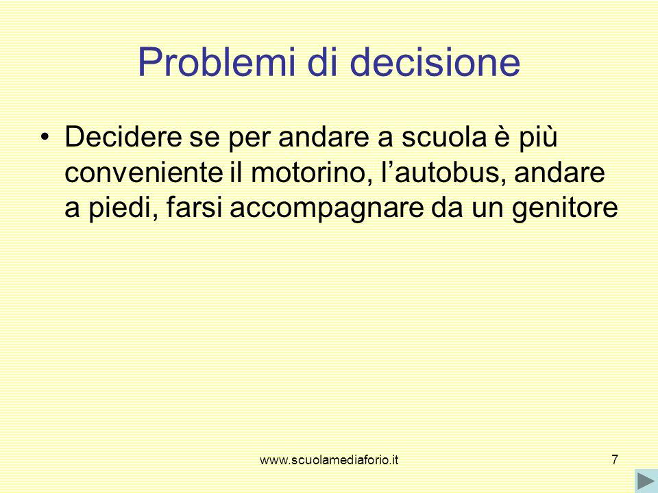 Problemi di decisione Decidere se per andare a scuola è più conveniente il motorino, l'autobus, andare a piedi, farsi accompagnare da un genitore.