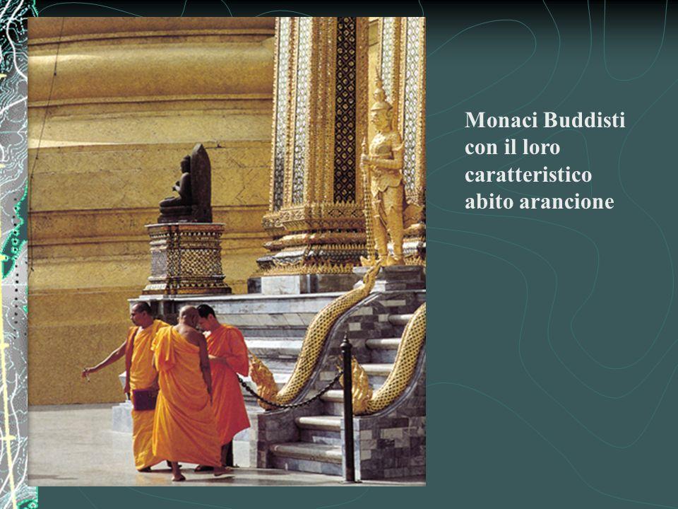 Monaci Buddisti con il loro caratteristico abito arancione