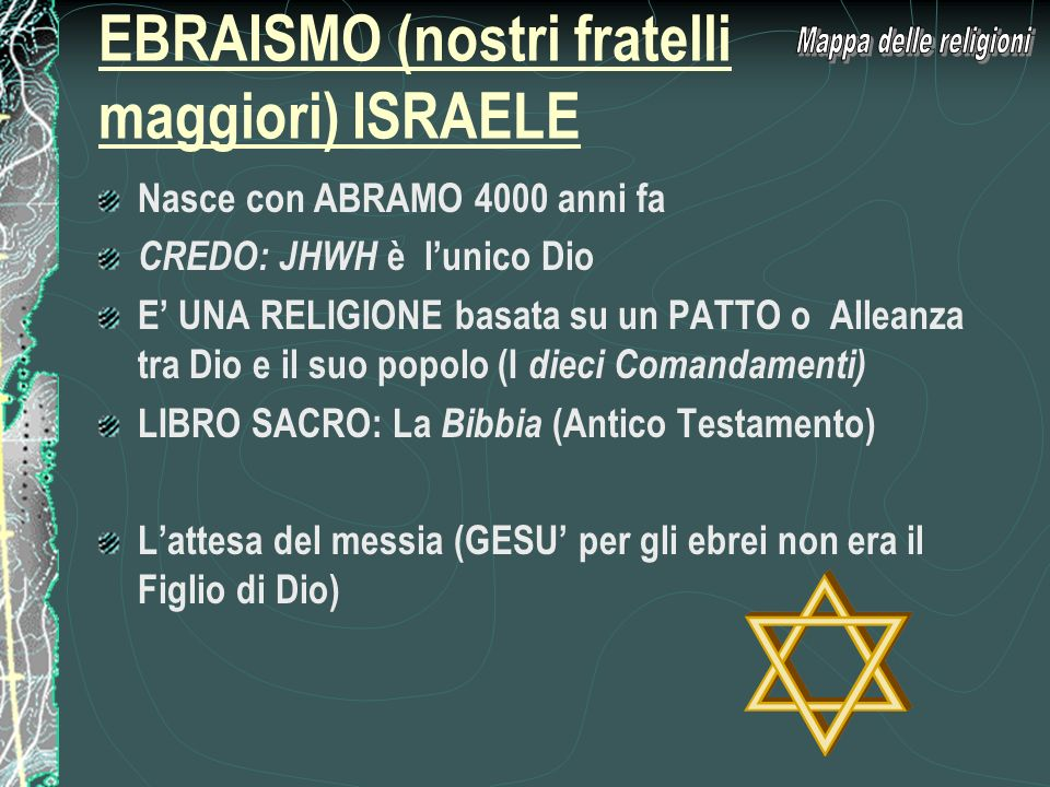 EBRAISMO (nostri fratelli maggiori) ISRAELE