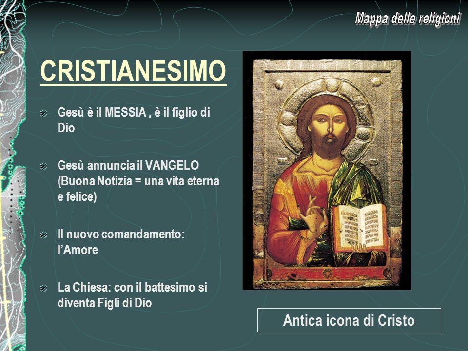 CRISTIANESIMO Mappa delle religioni Antica icona di Cristo