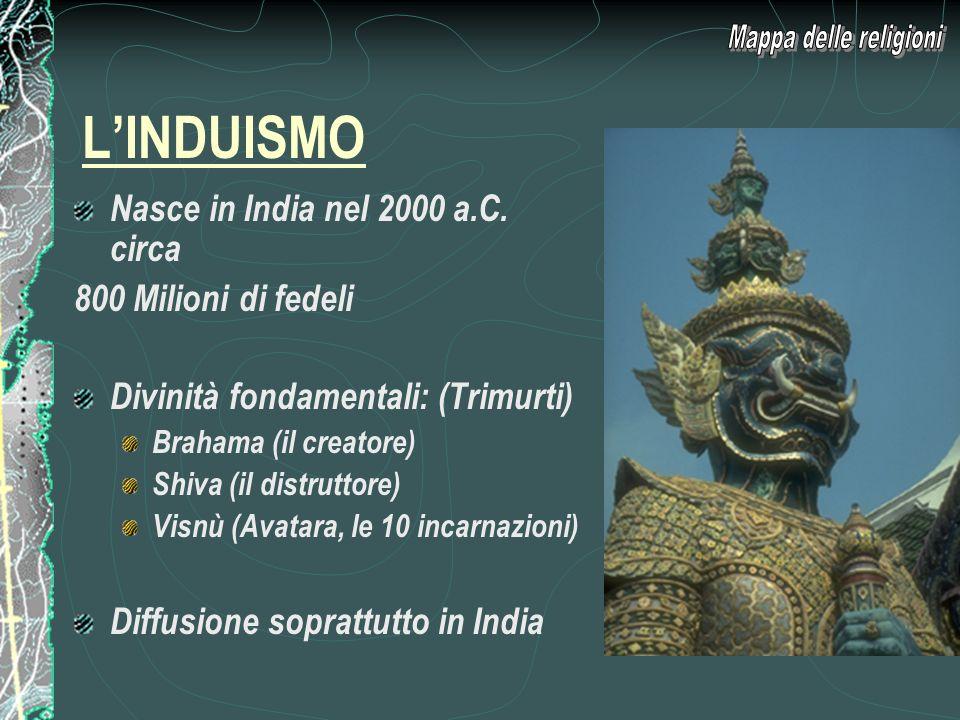 L'INDUISMO Mappa delle religioni Nasce in India nel 2000 a.C. circa