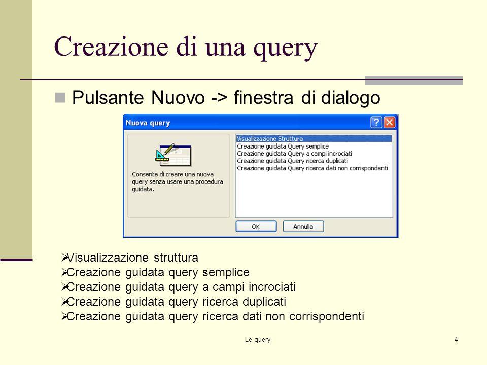 Creazione di una query Pulsante Nuovo -> finestra di dialogo