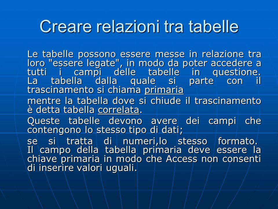 Creare relazioni tra tabelle
