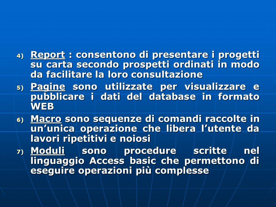 Report : consentono di presentare i progetti su carta secondo prospetti ordinati in modo da facilitare la loro consultazione