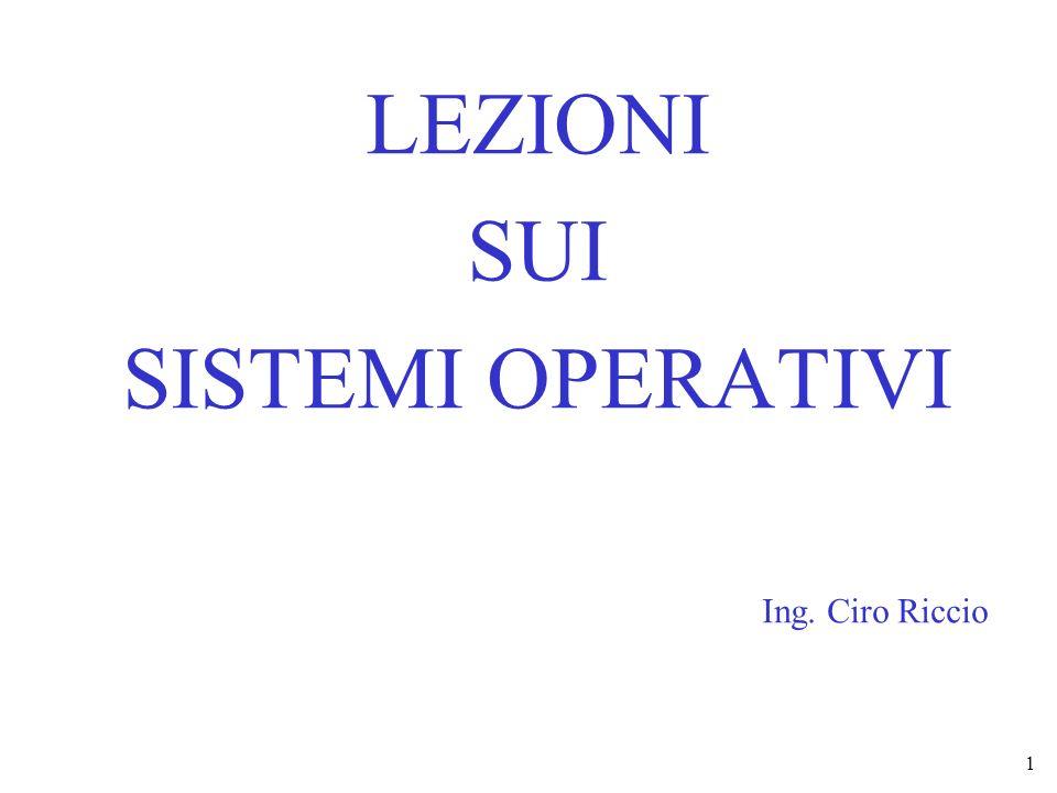 LEZIONI SUI SISTEMI OPERATIVI Ing. Ciro Riccio