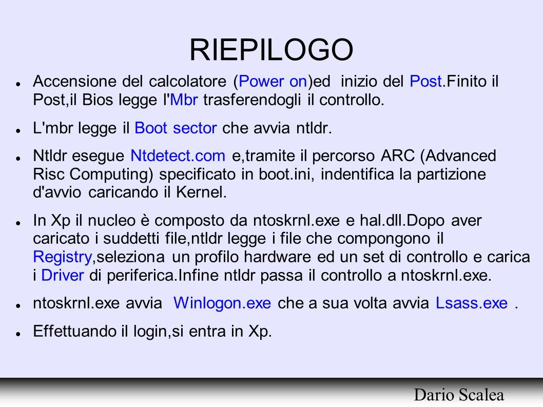RIEPILOGO Dario Scalea
