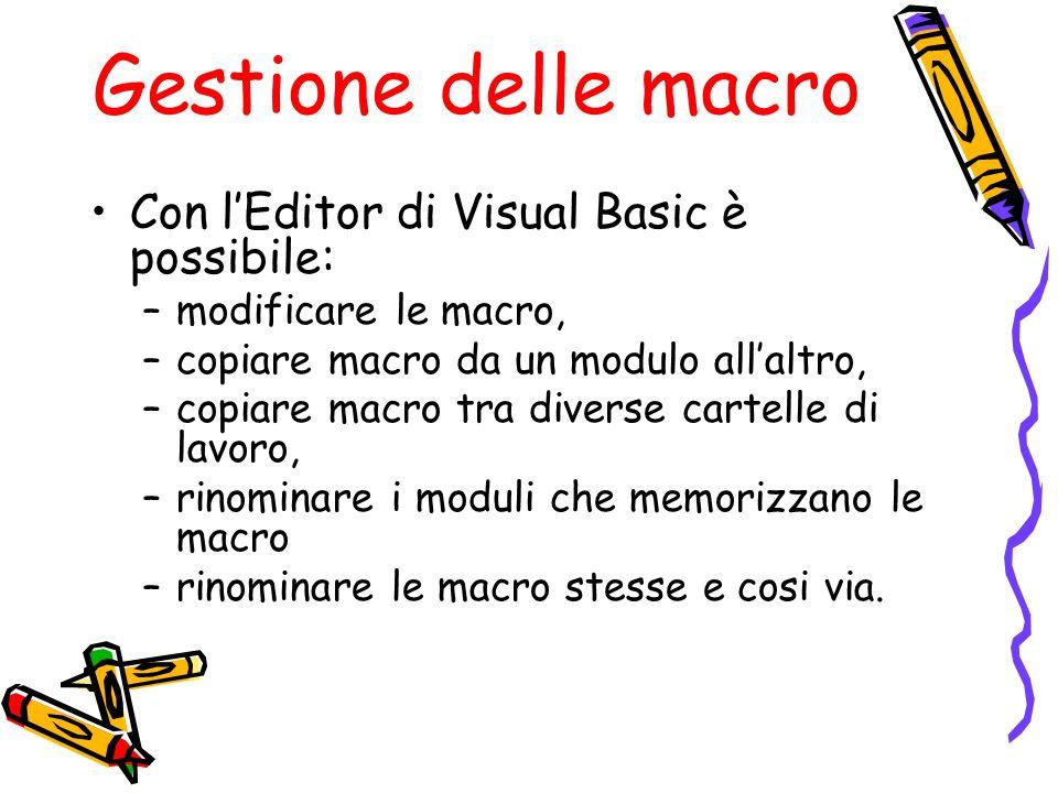 Gestione delle macro Con l'Editor di Visual Basic è possibile: